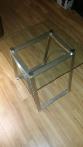Pair of Glass top end tables.