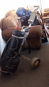 Right hand golf clubs and cart