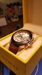 Invicta watch gold and brown leather band