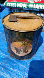 Vintage Biscuit Tin England Axe Woodsman Logging Tool Old