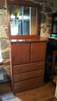 Solid wood tall boy dresser with mirror!