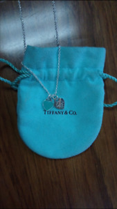 Tiffany and co double heart necklace blue enamel