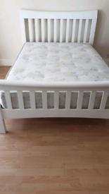 White Wooden Bed Frame & Mattress