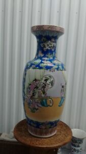 "Old Chinese Vase, Ladies Play Music Instruments Scenery,24"" tall"