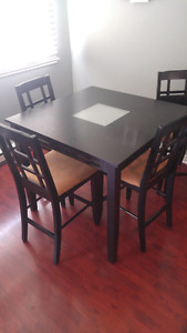 Square bar height kitchen table with 4 chairs