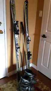 Slalom  skis, boots, bindings, and poles