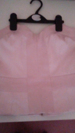 "Pink ""Short fitted Top in a Satin look Fabric""size 8 as new used once!"