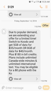 Cell plan service Public Mobile's Koodo Offer
