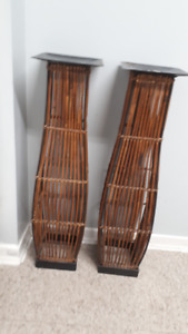 2 Bamboo Plant Stands