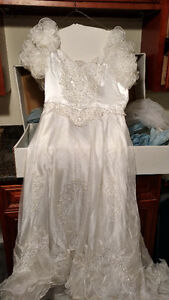 Vintage White Valeciene Gown Organza, Beading & Beaded Headpiece
