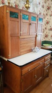 Vintage Oak Hoosier Cupboard with Stain Glass