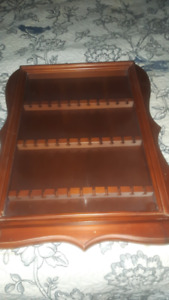 Spoon display cabinet, 33 slots, hinged glass front