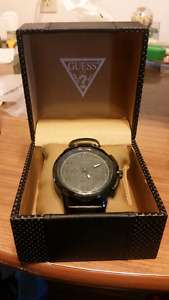 Guess black leather chronograph watch