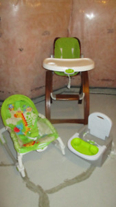 Wooden Highchair High Chair+ Travel Booster Seat + Rocking Chair