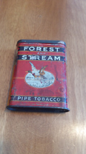 VINTAGE FOREST & STREAM POCKET TOBACCO TIN;