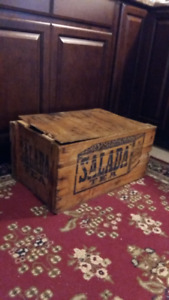 RARE SALADA TEA WOODEN CRATE;