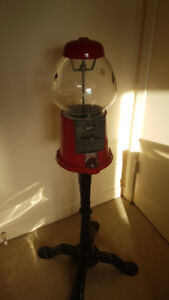 Working Good Condition Gumball Machine - All Metal, Glass Bowl