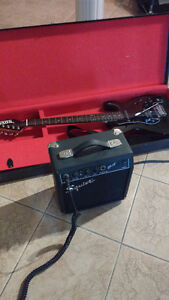 Guitar with Fender 10 Watt amplifier and case