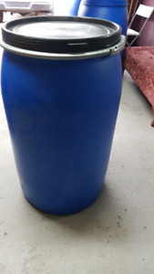 Large 55 gallon plastic rain /storage/shipping barrels