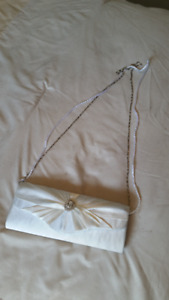 Beautiful White Clutch/purse with two removable straps