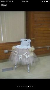 Vintage highchair with tulle skit
