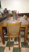 Solid wood counter height dining table and 6 chairs for sale