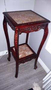Two Mahogany Wood Antique Decorative Tables with Marble Top