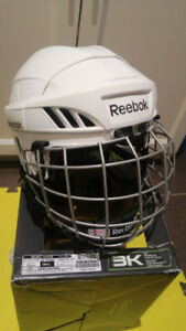 Reebok 3K Hockey Helmet Combo with Cage (Size S, White)