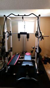 Northern Lights power rack with lat pulldown and low row