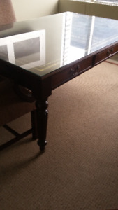 Leather topped and glass covered desk or table