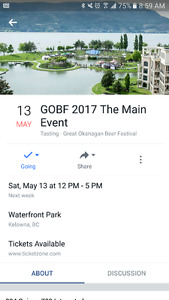2 tickets to the Great Okanagan Beer Fest in Kelowna, May 13th.