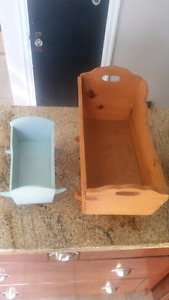 Two wooden baby cradles