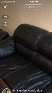2 piece leather sofa set black.. great for condos