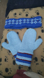 Hand knitted headband & matching mittens.