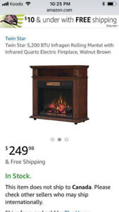 Brand new electric fireplace with Bluetooth.