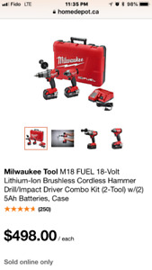 Milwaukee M18 FUEL,18Volt, Cordless Hammer Drill/Impact Driver