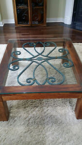 COFFEE TABLE WITH IRON INSERT AND GLASS TOP