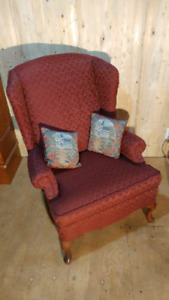 Fauteuil Queen Anne bourgogne