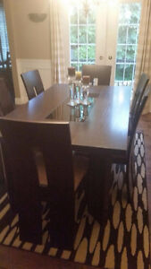 Dark Brown Wood (Maple) Dining Room Table