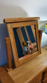 Solid oak tabletop vanity mirror, high quality BEAUTIFUL freestanding