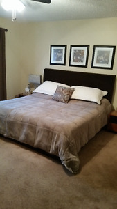 KING BED WITH CUSTOM MADE HEADBOARD AND BASE SURROUND