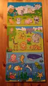 3 wooden toddler puzzles $12 takes all 3 **As Is