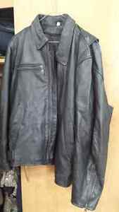 Men's Leather Motorcycle Coat with Liner