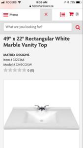 "Marble bathroom countertop  49""x22"""