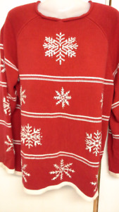 red pull over Christmas sweater with snowflakes for women. XL