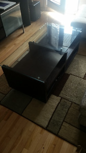 Structube Black wood & Tempered glass Coffee Table
