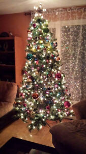 Christmas Tree - 7.5 ft artificial, white lights built-in