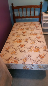 twin bed boxspring headboard bedframe (and mattress)