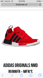 Adidas red and black nmd