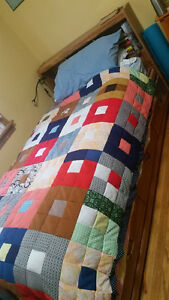 Single mattress and beautiful wooden bed frame for sale!